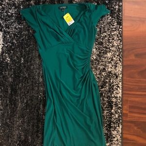 NWT Ralph Lauren green dress w flutter sleeve